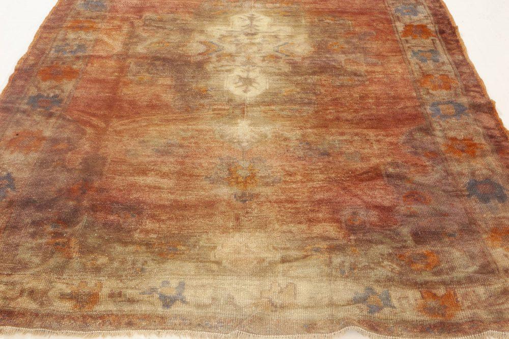 Turkish Oushak Pink, Purple, Orange and Blue Handwoven Wool Rug BB6924