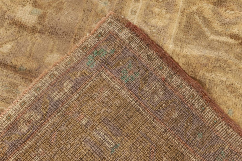Turkish Oushak Brick Red, Terracotta, Deep Blue and Gold Wool Rug BB6923