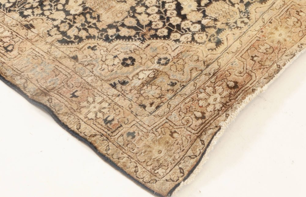 Persian Kirman Chocolate Brown & Creamy Beige Handwoven Wool Rug BB6925