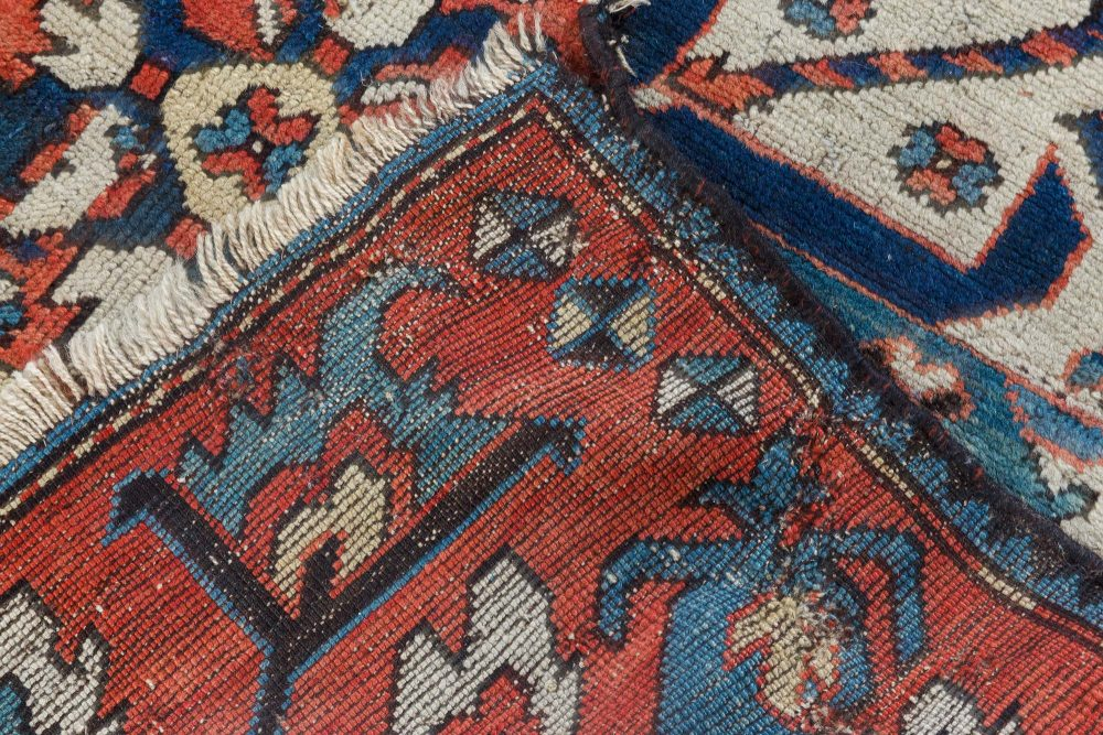 Antique Kazak Blue, Red and White Handwoven Wool Rug BB6935