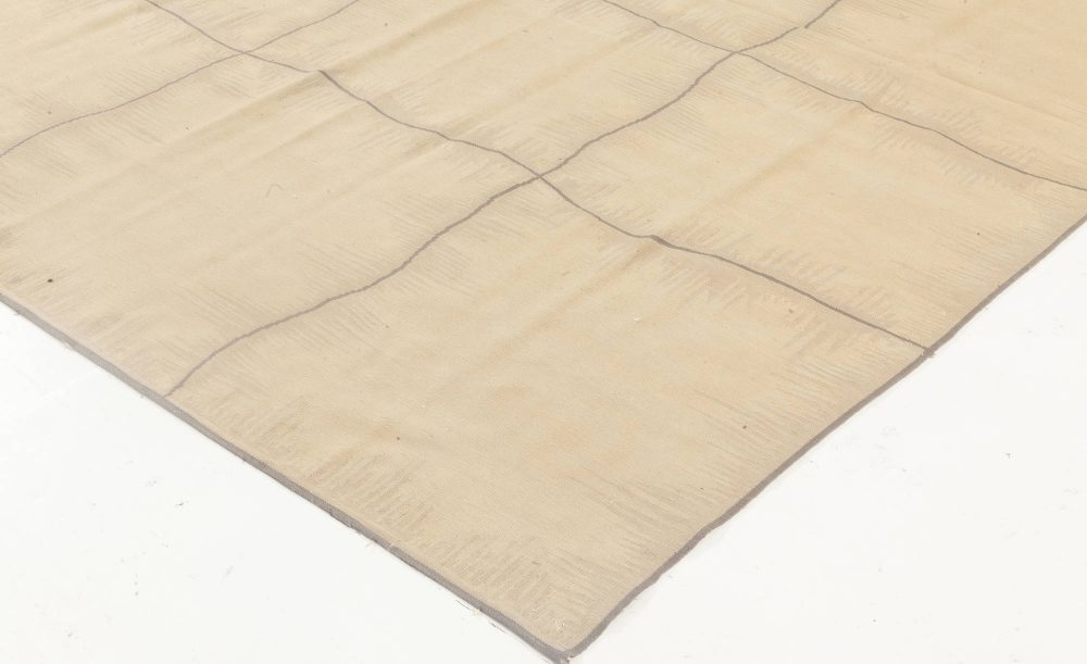 Aubusson Design Beige and Gray Rug by George Terbovich N11930