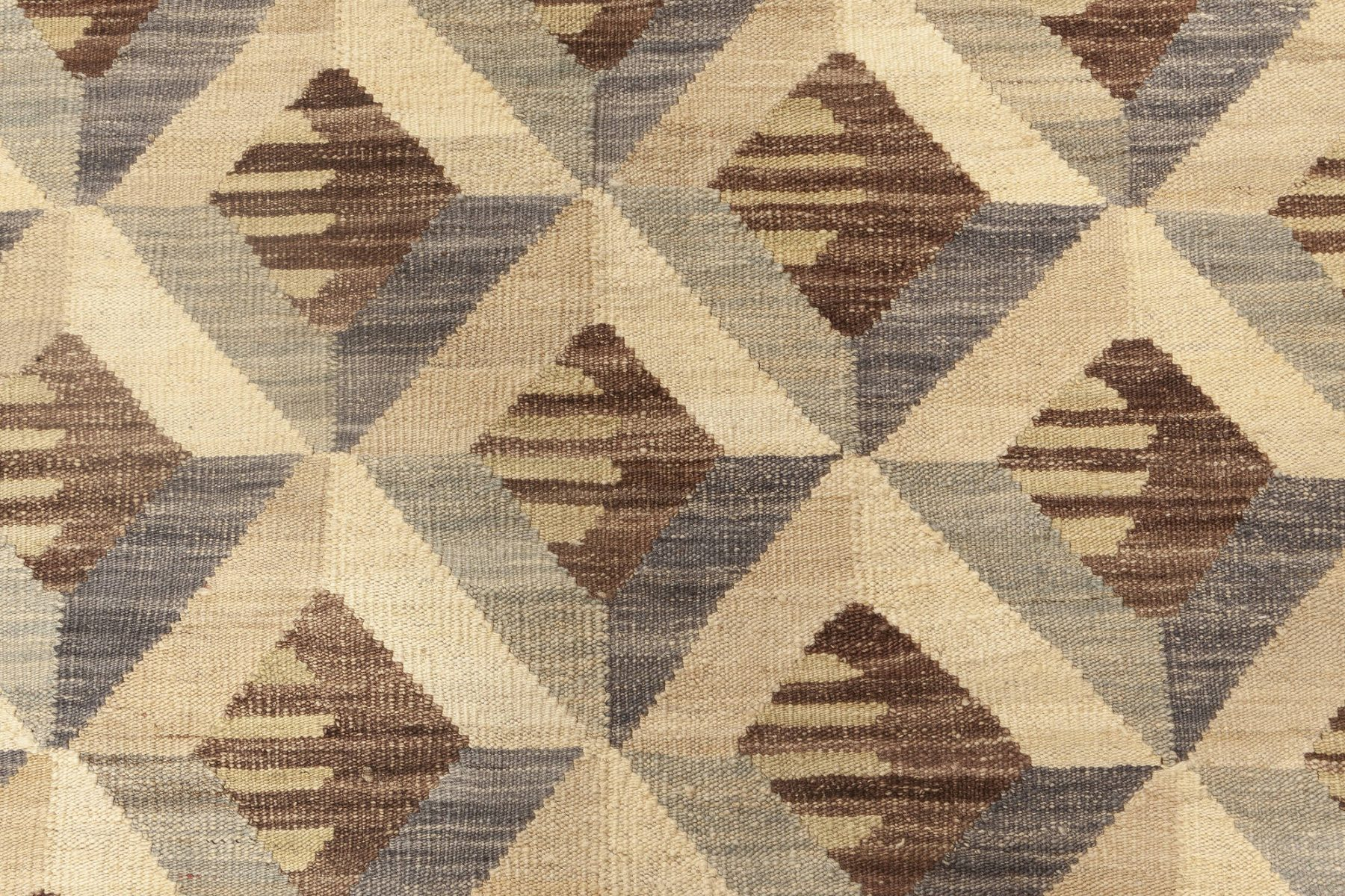Contemporary Geometric Beige, Brown and Gray Handwoven Wool Rug N11928