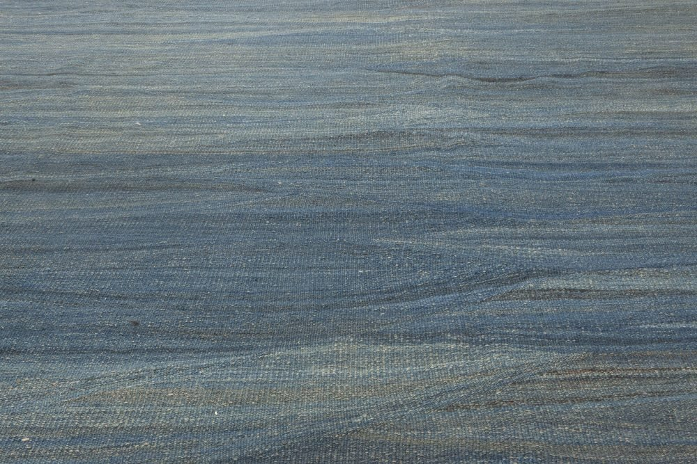 Modern Swedish Design Blue, Green and Gray Hand Knotted Wool Rug N11929