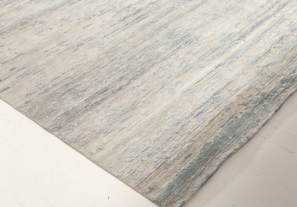 """Contemporary """"Dreamy"""" Beige and Blue Hand Knotted Wool and Silk Rug N11948"""