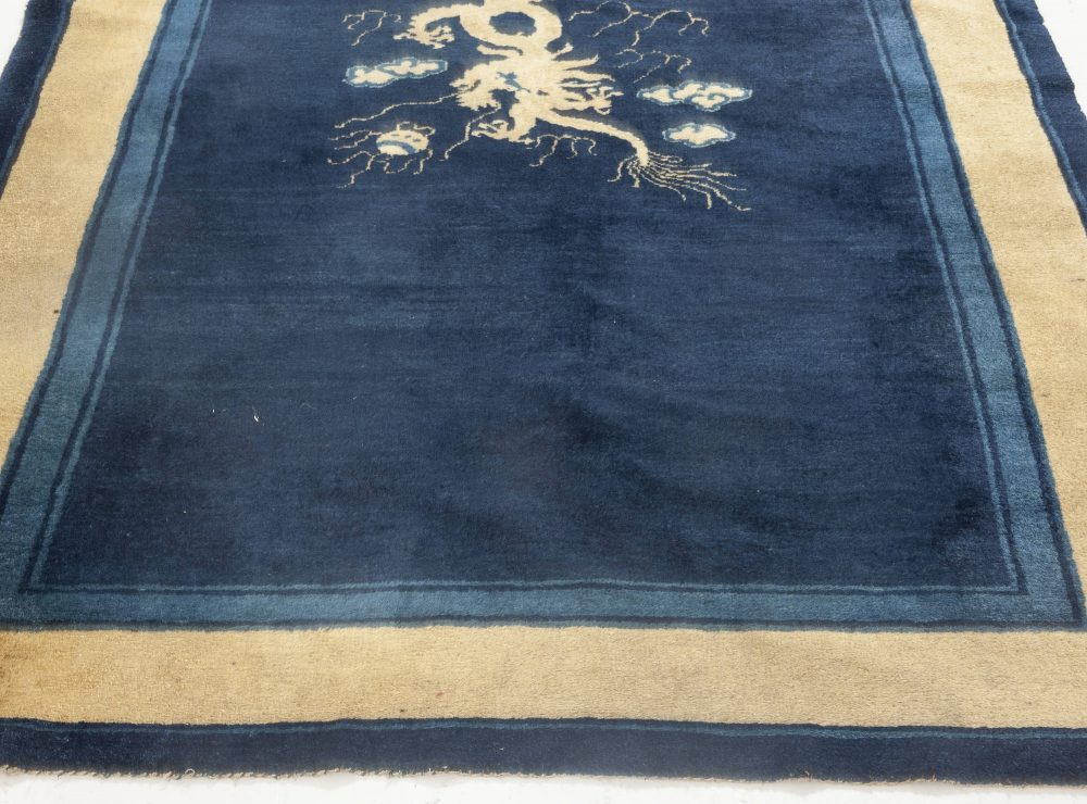 Vintage Chinese Beige and Navy Blue Hand Knotted Wool Rug BB6930