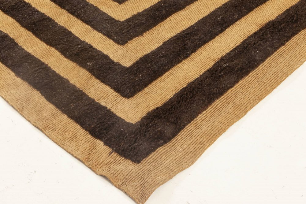 French Art Deco Camel and Dark Brown Hand Knotted Wool Rug BB6921