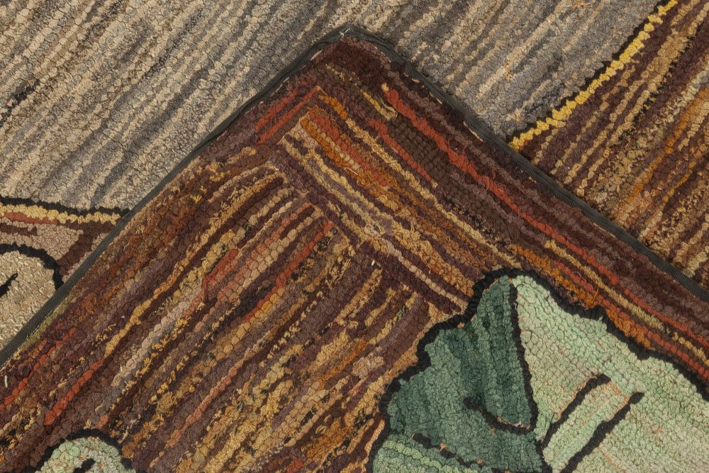 Vintage Brown, Gold, Gray and Green American Handwoven Wool Rug BB6949