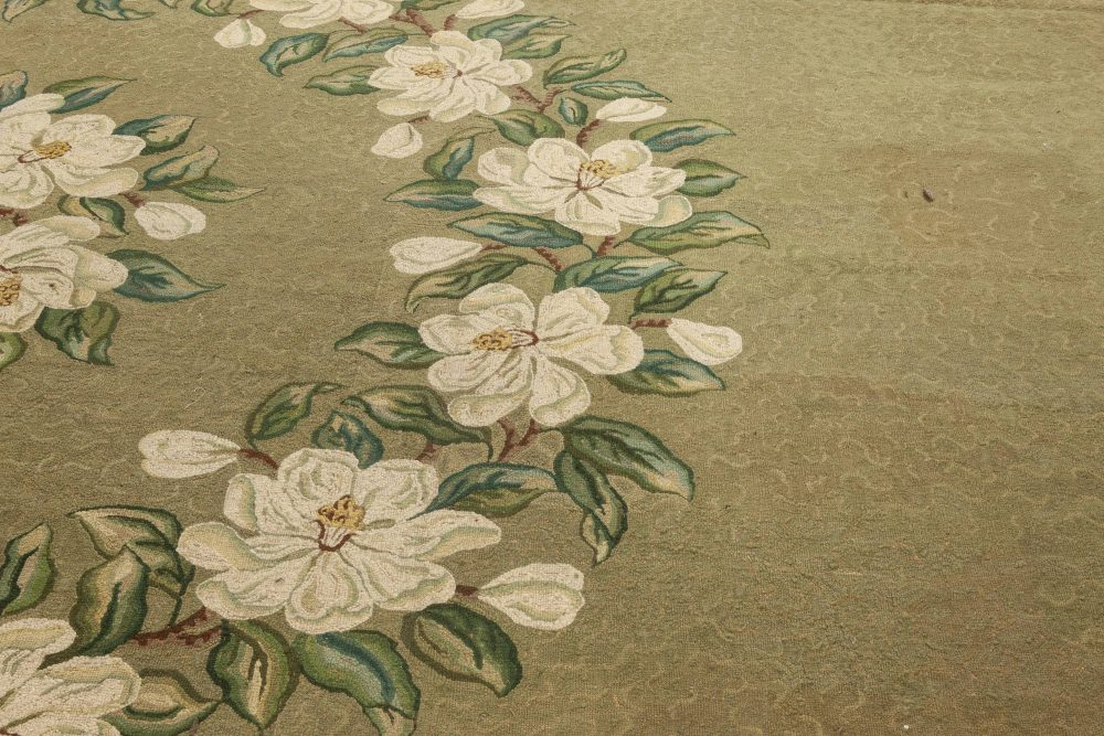 American Hooked Green, Beige and White Timeworn Handwoven Rug BB6952