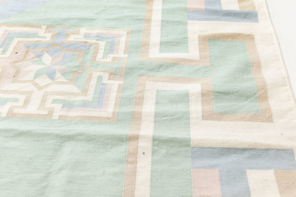 Midcentury Indian Dhurrie in Pastel Tones Handwoven Cotton Rug BB6927