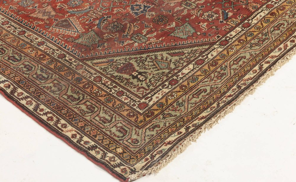 Antique Persian Feraghan Green, Pink, Red and White Rug BB6955