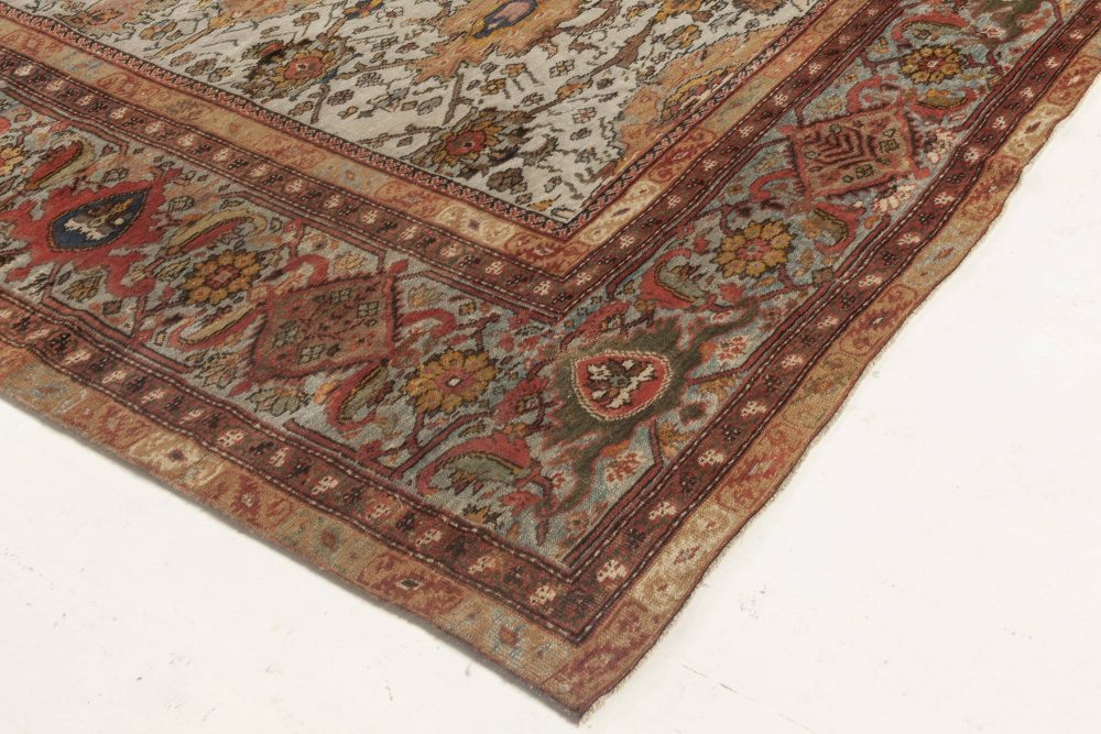Antique Persian Sultanabad Blue, Red Beige and Brown Rug BB6959