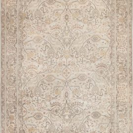 Persian Tabriz Handmade Wool Rug in Beige and Brown BB6962