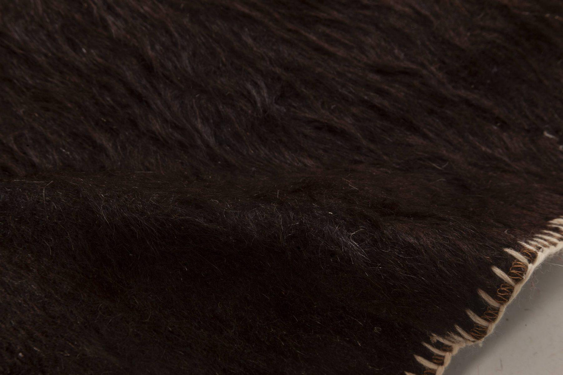 Midcentury Turkish Dark and Light Brown Kilim Wool Rug BB6956