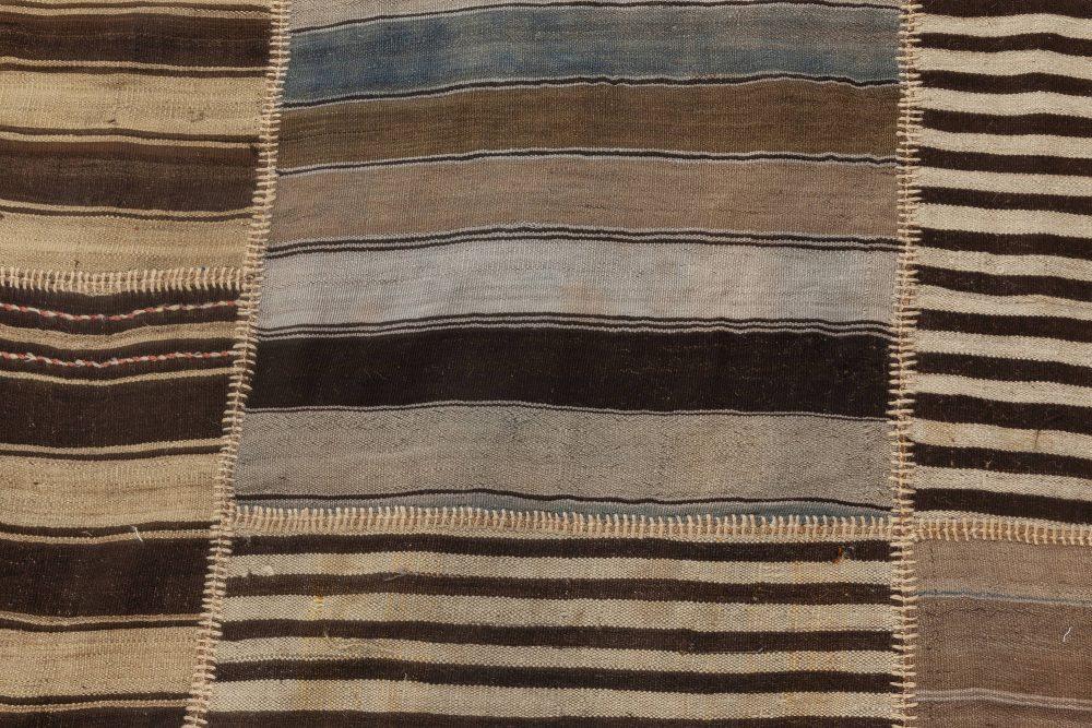 Turkish Kilim Rug in Blue, Beige and Brown Stripes BB6958