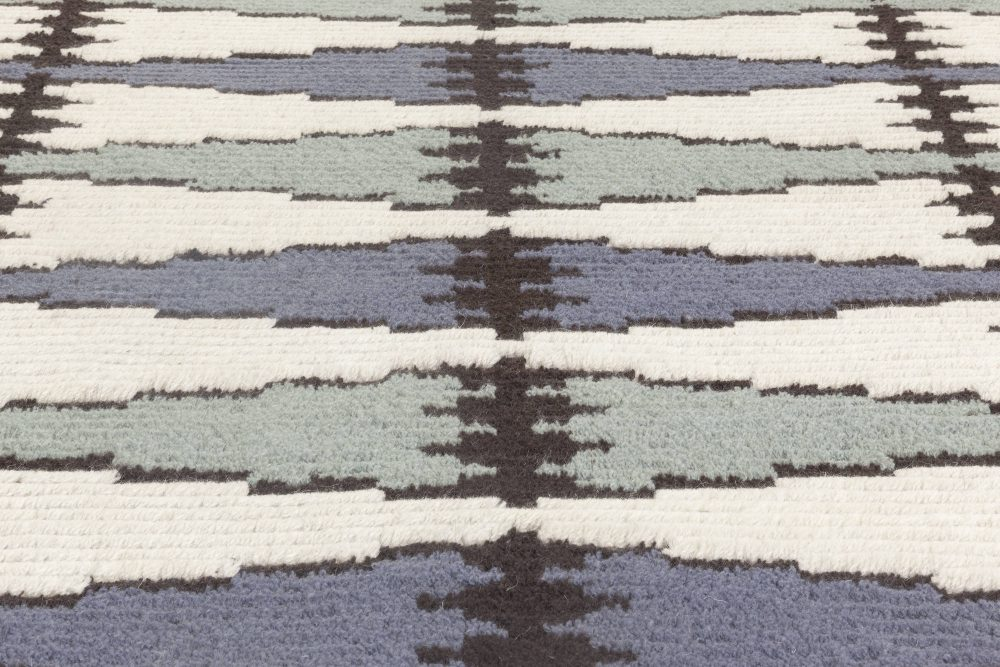 Swedish Design Blue, Gray, White and Black Hand Knotted Wool Rug N11935