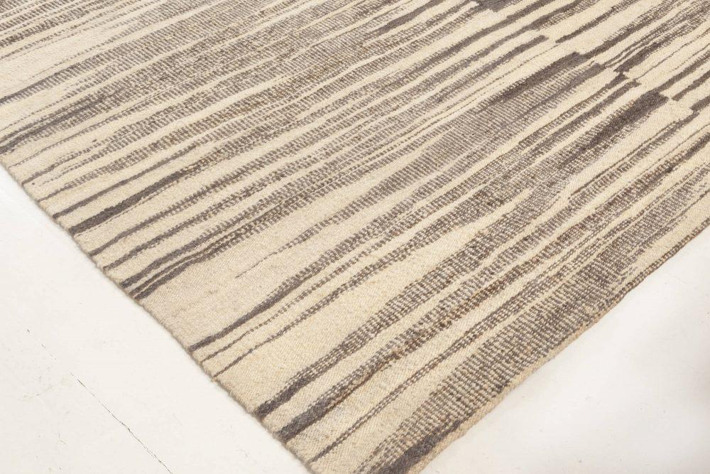 Modern Zebra Pattern Beige & Gray Flat Weave Wool Rug N11946