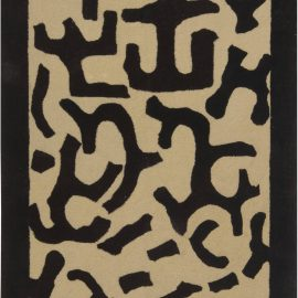 Geometric Hand Tufted Rug by Roderick N. Shade in Beige and Black N11945