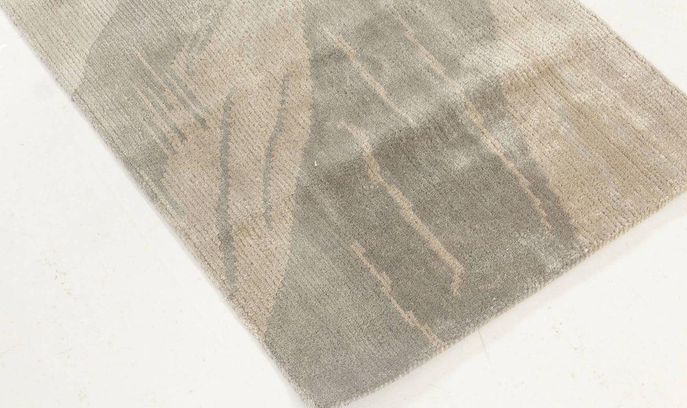 Contemporary Beige and Grey Silk Runner N11940