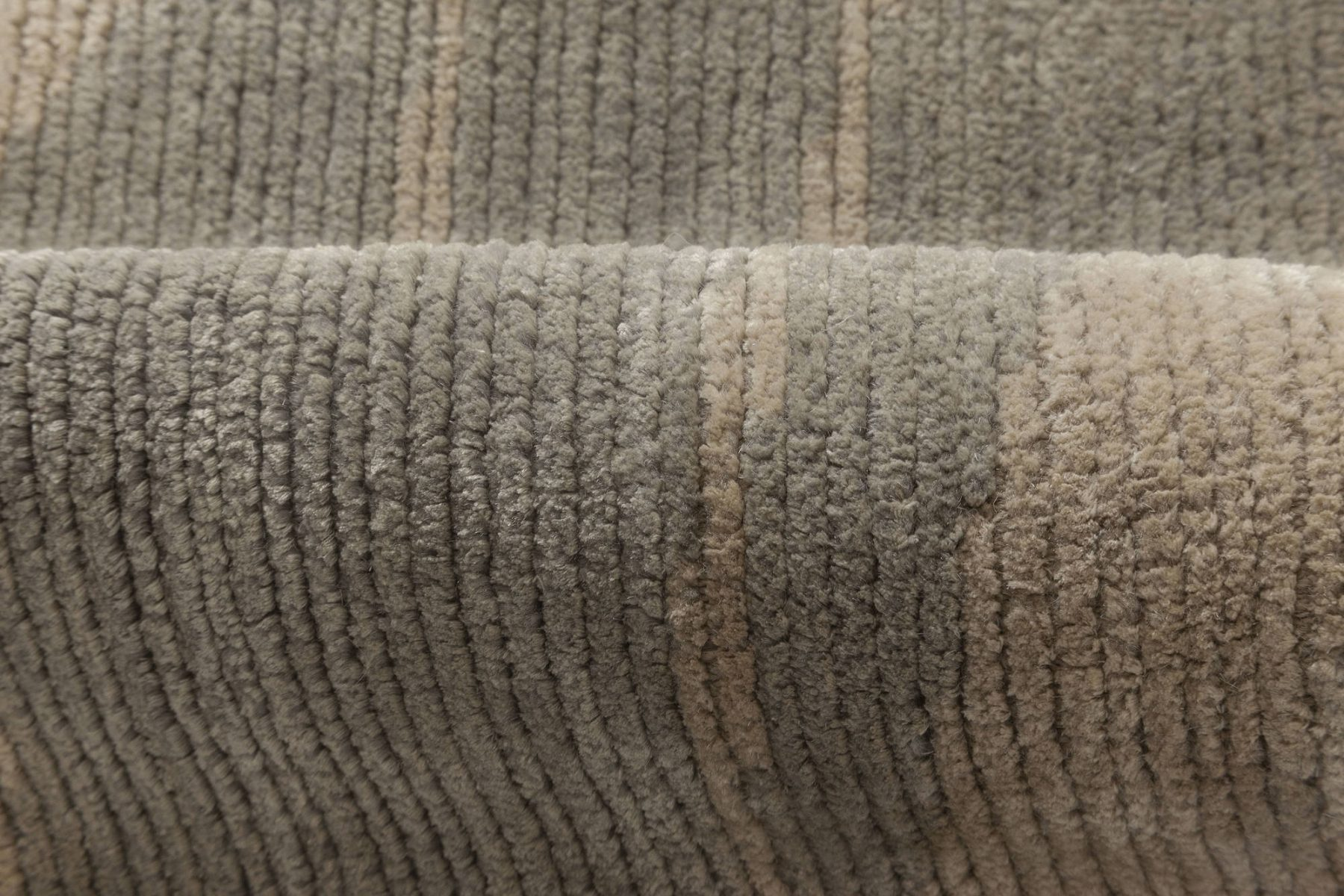 Contemporary Beige and Grey Silk Runner N11940