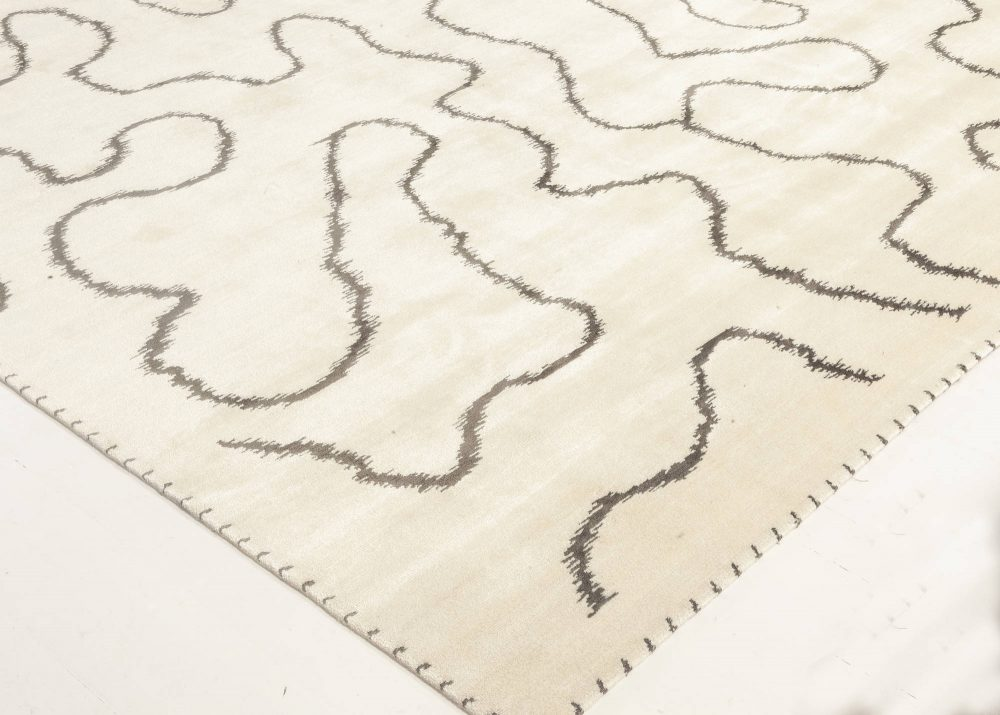 Modern Ribbon Design Black & White Hand-knotted Wool & Silk Rug N11967