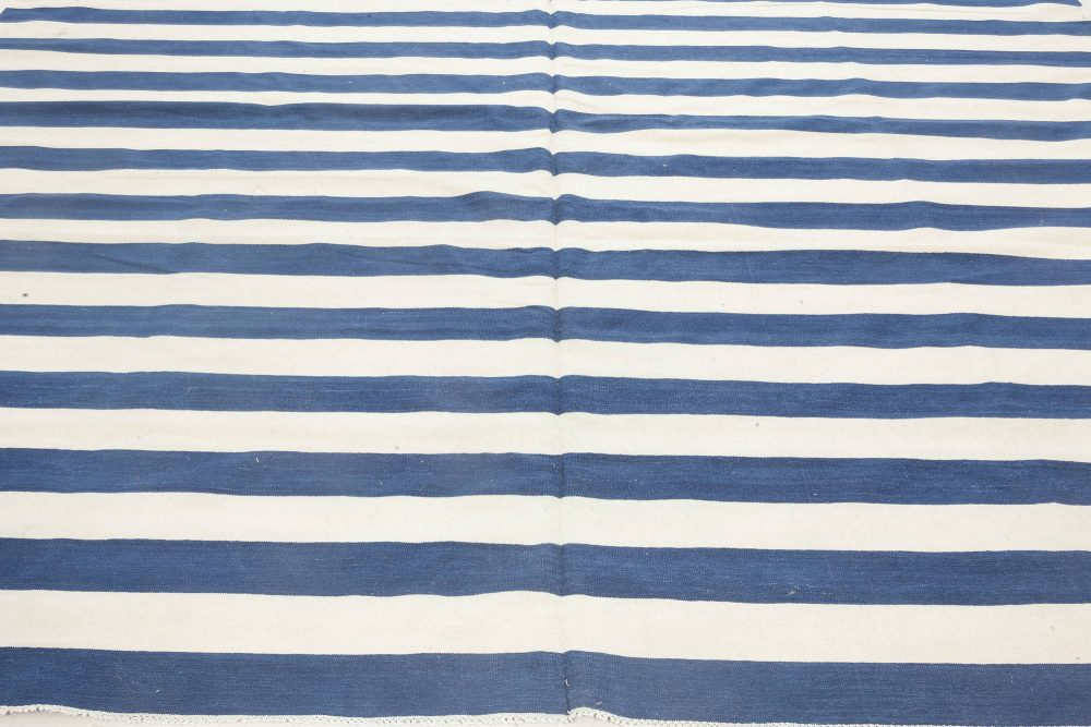 Contemporary Blue and White Striped Dhurrie Design Rug N11941
