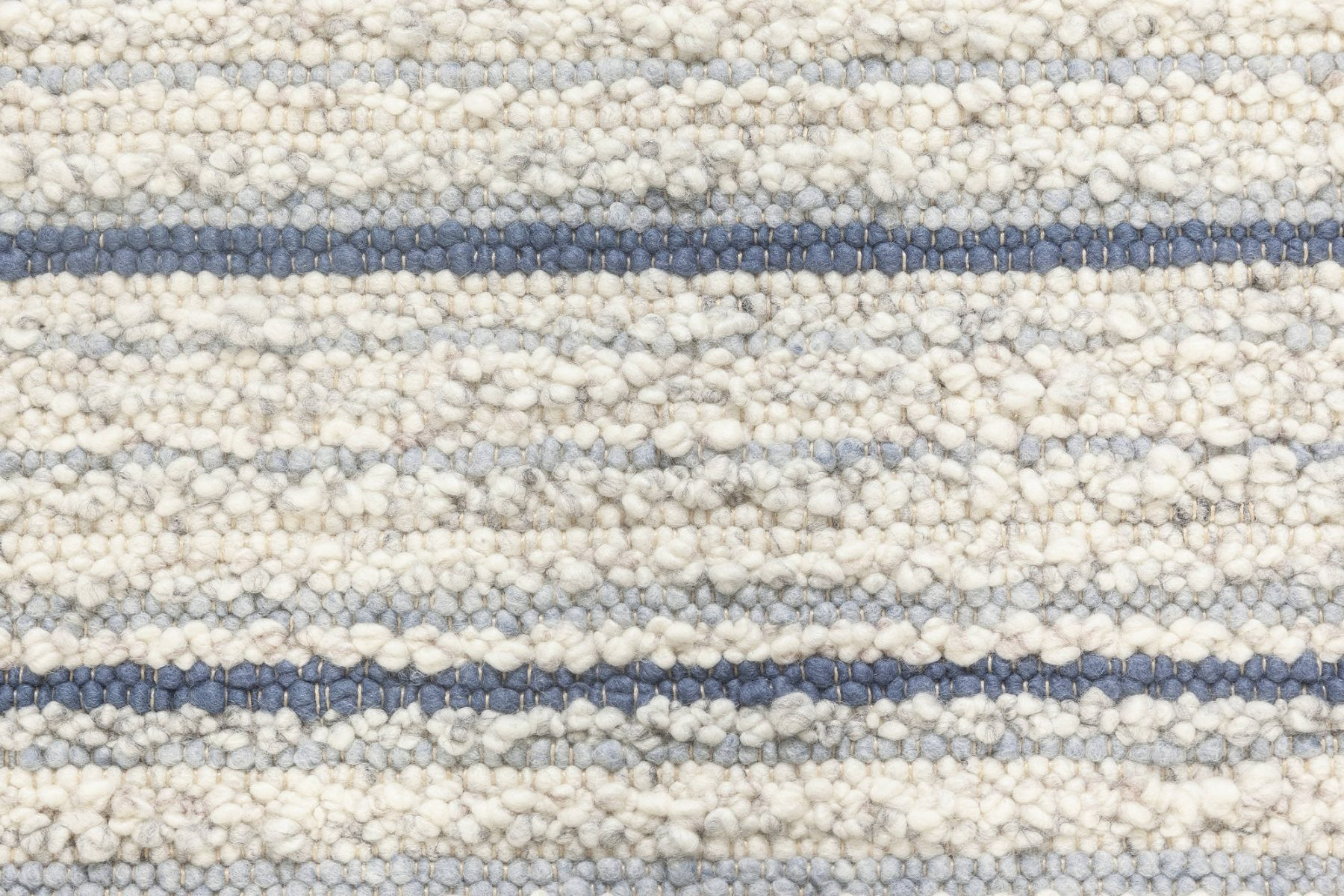 Alpine Rug Handwoven in Natural Lambswool with Blue Stripes N11951