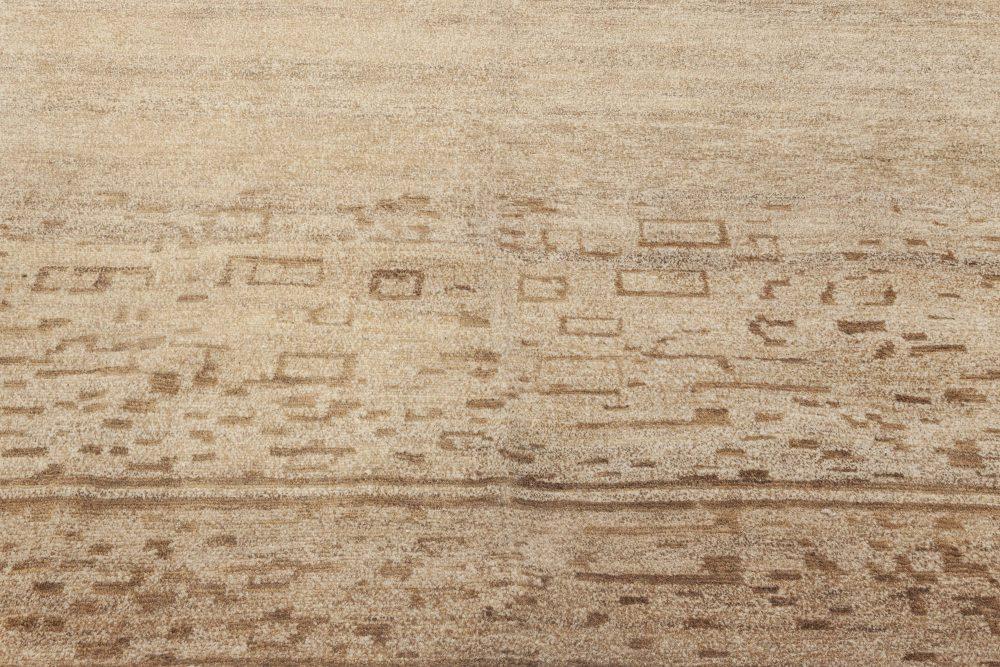 Contemporary Geometric Beige & Brown Hemp Rug N11958