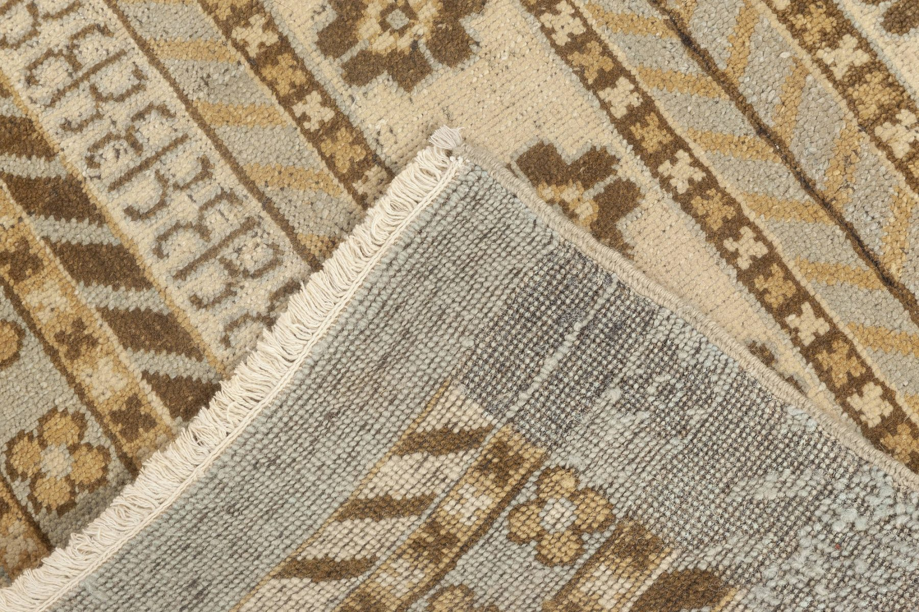 New Samarkand Blue, Brown and White Wool Runner N11957