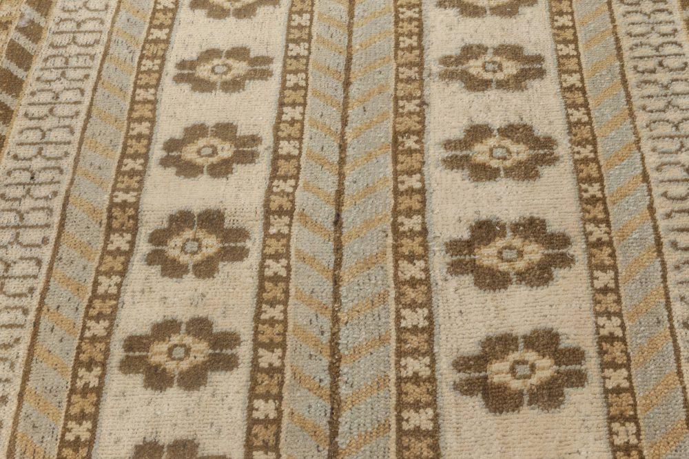 New Samarkand Blue, Brown and White Wool Runner N11957