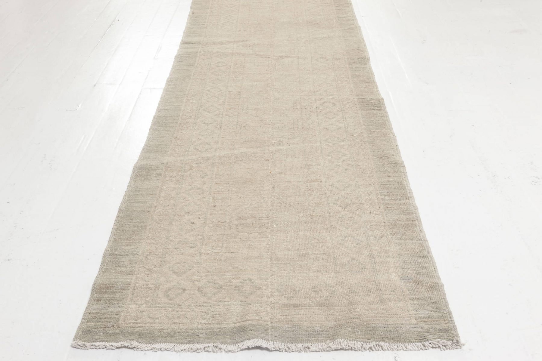 Samarkand Beige and Green Handmade Runner (Size Adjusted) N11954