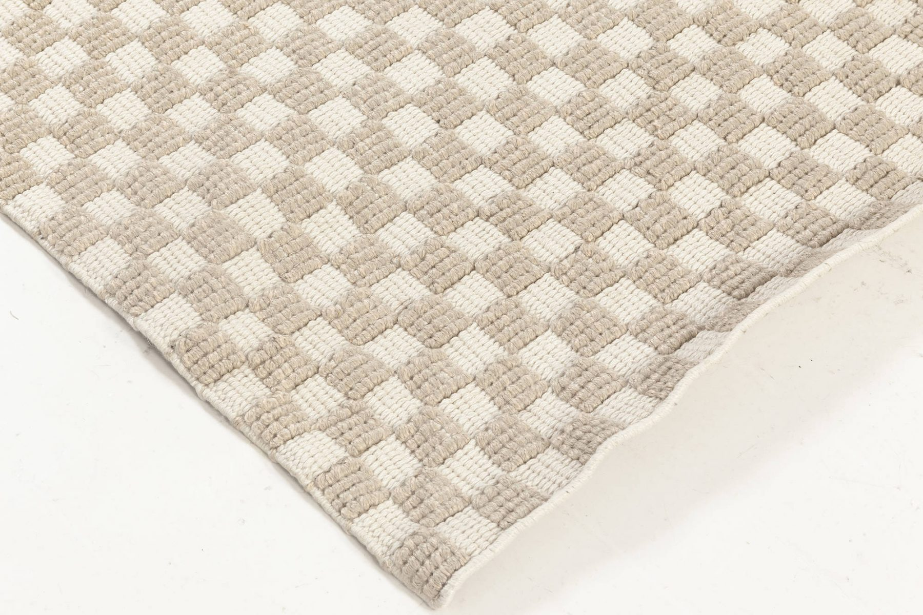 New Swedish Inspired Indoor Outdoor Geometric Beige and White Wool Rug N11953