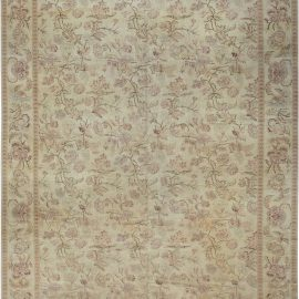 Traditional Inspired Beige, Brown and Pink Hand Knotted Wool Rug N11949