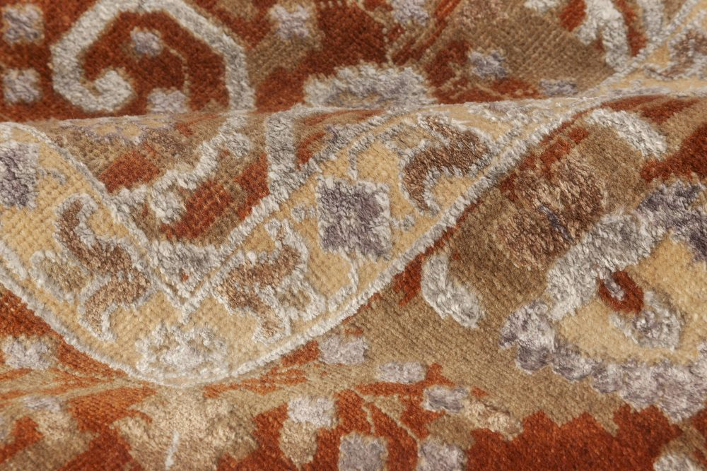 Modern Traditional Inspired Orange and Gray Hand Knotted Wool Rug N11960