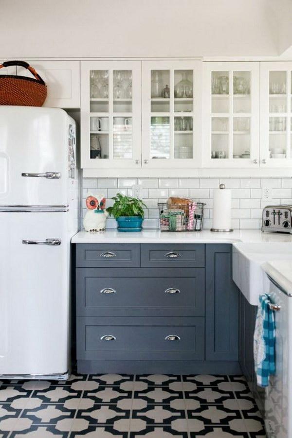 dois armários de cozinha em tons, cozinha 2019 tendências de decoração (14)