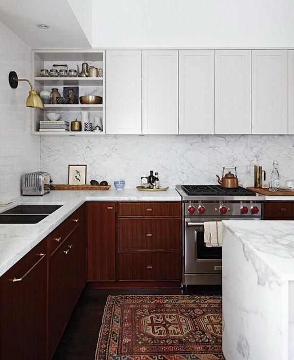 dois armários de cozinha em tons, cozinha 2019 tendências de decoração (15)