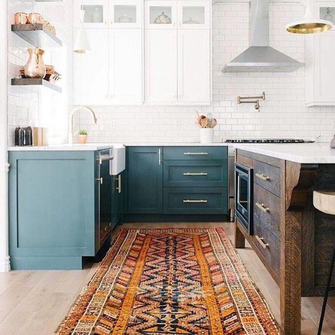 dois armários de cozinha em tons, cozinha 2019 tendências de decoração (17)