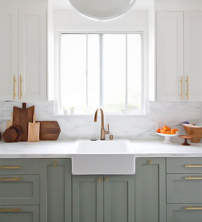 dois armários de cozinha em tons, cozinha 2019 tendências de decoração (19)