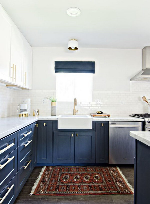 dois armários de cozinha em tons, cozinha 2019 tendências de decoração (21)