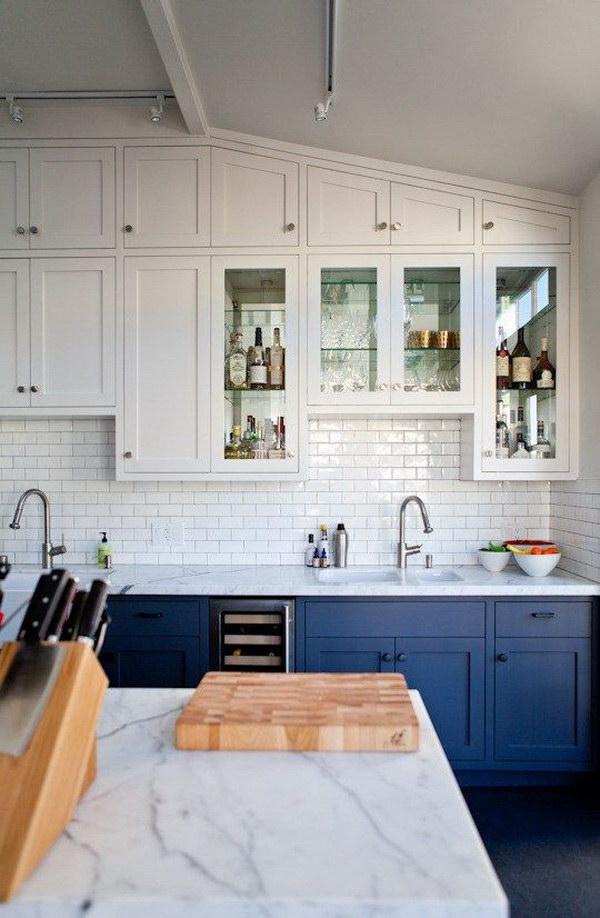 dois armários de cozinha em tons, cozinha 2019 tendências de decoração (22)