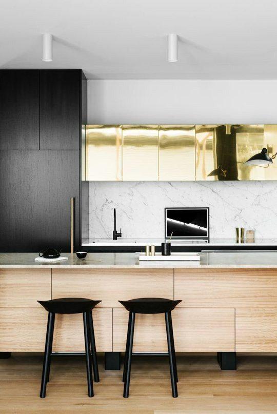 dois armários de cozinha em tons, cozinha 2019 tendências de decoração (5)
