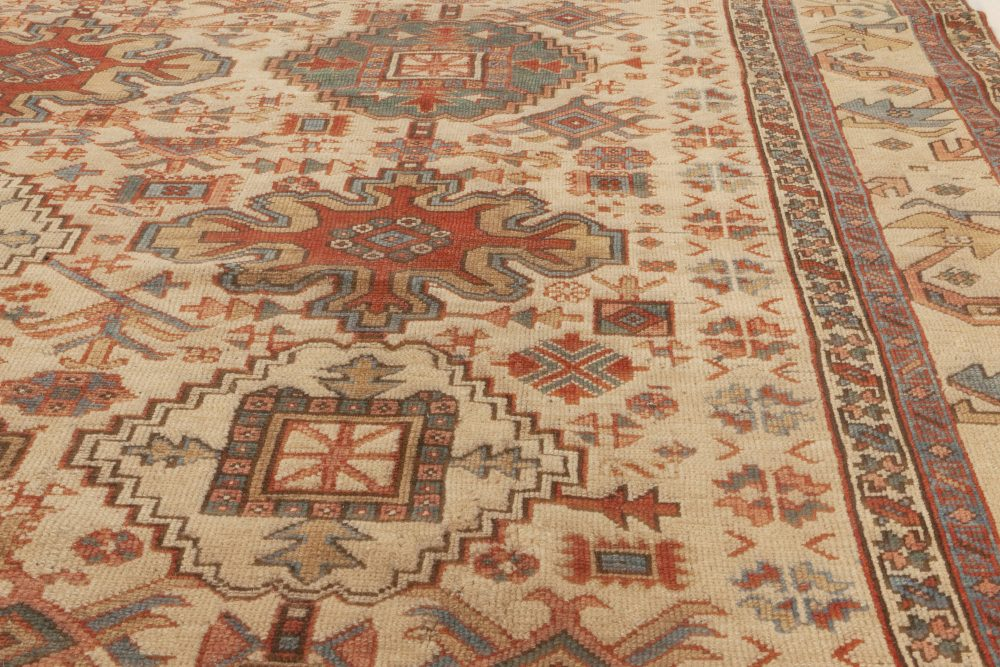 Antique Persian Heriz Red, Blue, Green, Pink and Beige Rug BB6988