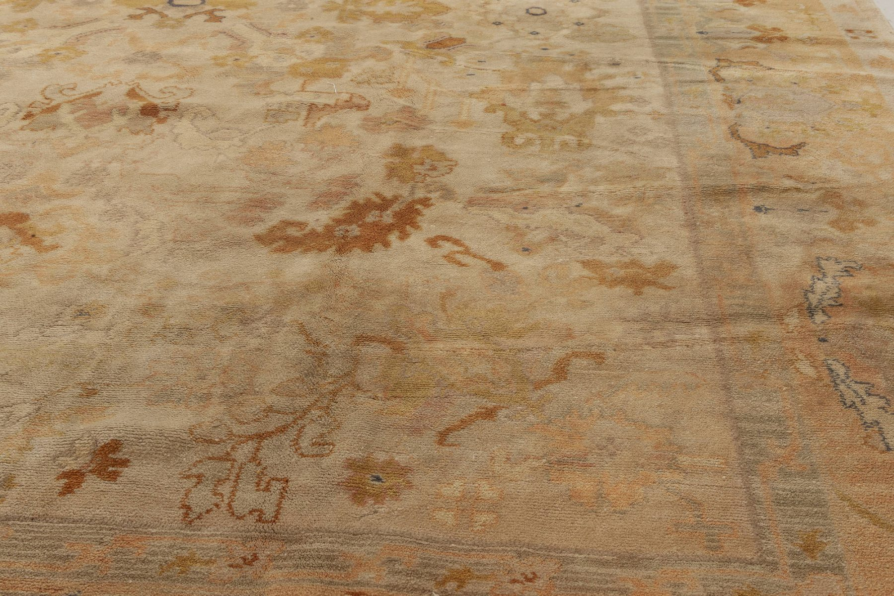 Spanish Beige, Blue, Brown and Orange Hand Knotted Wool Rug BB6963