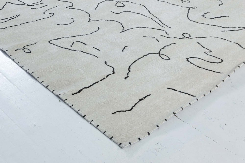 Modernist Jean Cocteau Style Black and White Hand Knotted Wool Rug N11983