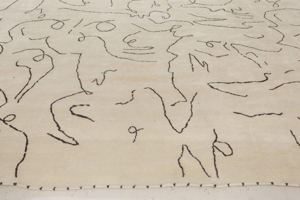 Modernist Jean Cocteau Style White & Black Handwoven Wool Rug N11982