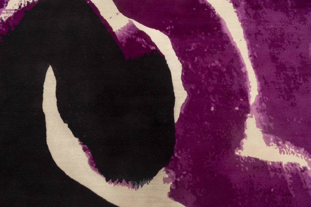 Abstract Purple, White & Black Hand-knotted Wool Curvilinear Rug N11999