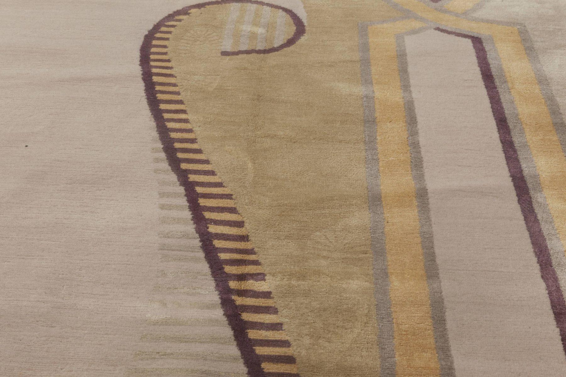 Neutral Beaux Arts Deco Beige, Brown, Gold & Purple Rug after Andre Arbus N12007