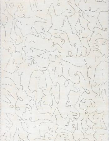 Modernist Jean Cocteau Style Rug N11986