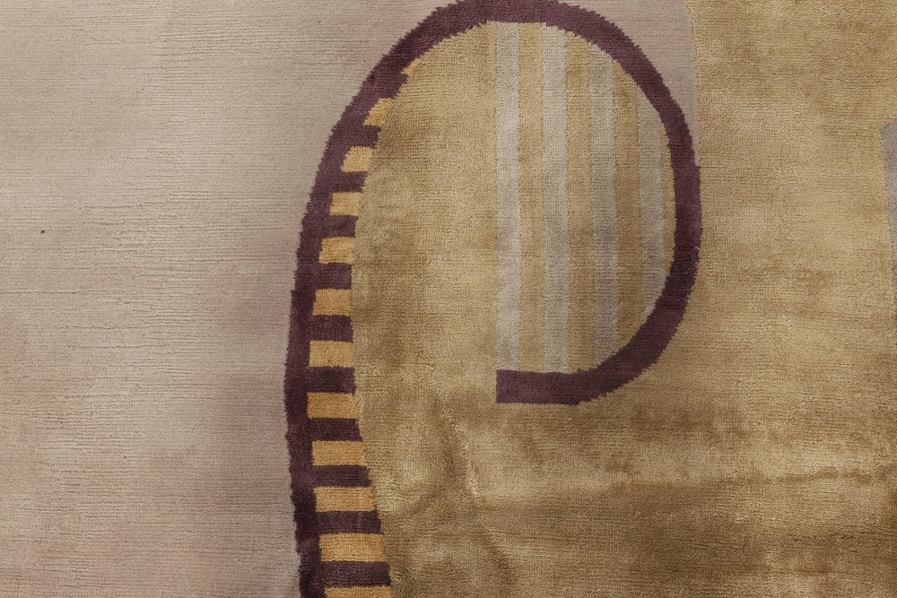 Beaux Art Deco Gold and Purple Natural Yarn Rug After Andre Arbus N12012