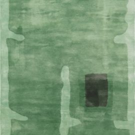 Contemporary Green and Black Handwoven Silk Rug N11995