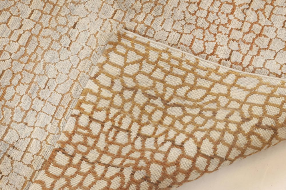 New Modern Abstract Camel and Off-White Wool Rug N12003